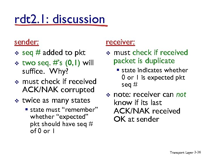 rdt 2. 1: discussion sender: v seq # added to pkt v two seq.