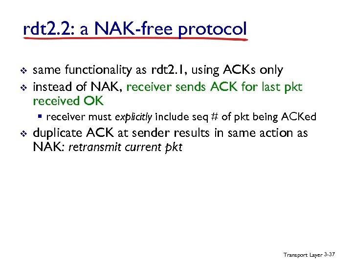 rdt 2. 2: a NAK-free protocol v v same functionality as rdt 2. 1,