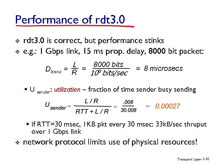 Performance of rdt 3. 0 v v rdt 3. 0 is correct, but performance