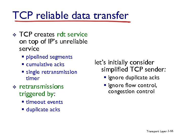 TCP reliable data transfer v TCP creates rdt service on top of IP's unreliable