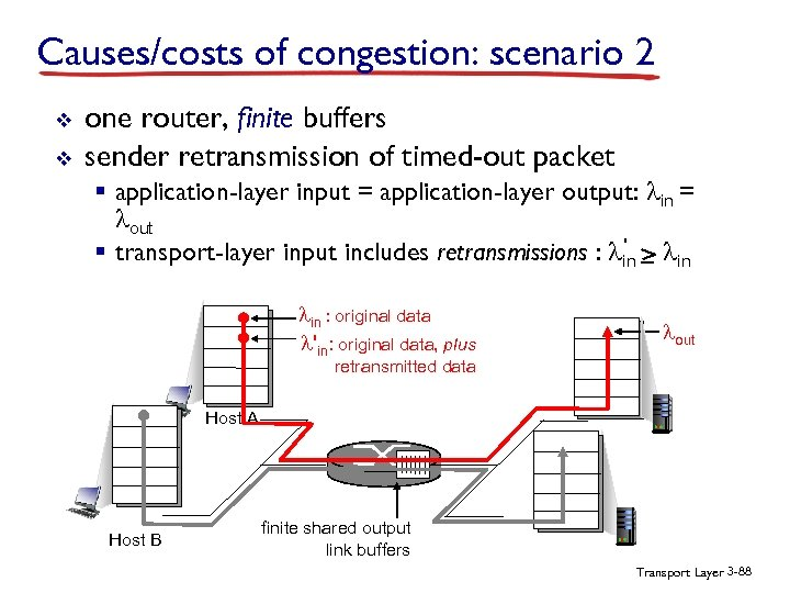 Causes/costs of congestion: scenario 2 v v one router, finite buffers sender retransmission of