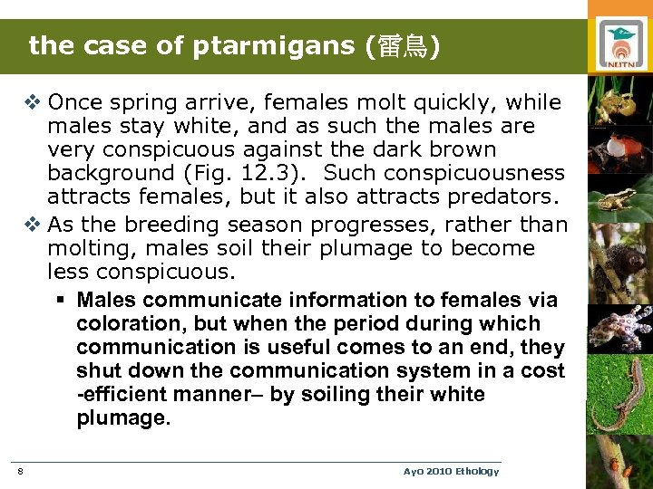 the case of ptarmigans (雷鳥) v Once spring arrive, females molt quickly, while males