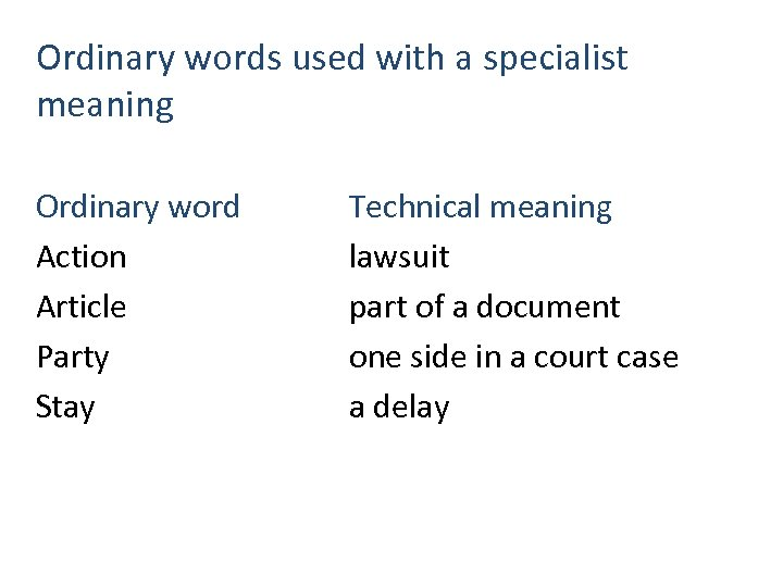 Ordinary words used with a specialist meaning Ordinary word Action Article Party Stay Technical