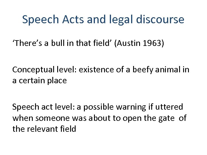 Speech Acts and legal discourse 'There's a bull in that field' (Austin 1963) Conceptual