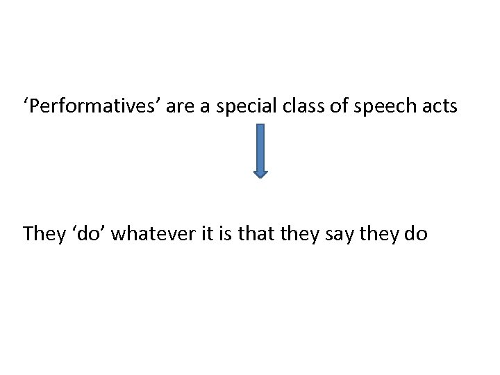 'Performatives' are a special class of speech acts They 'do' whatever it is that