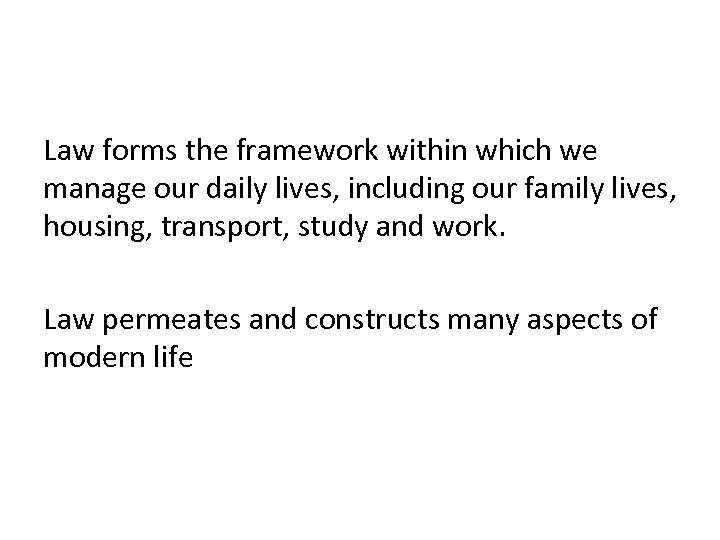 Law forms the framework within which we manage our daily lives, including our family