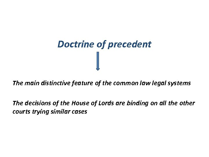 Doctrine of precedent The main distinctive feature of the common law legal systems The