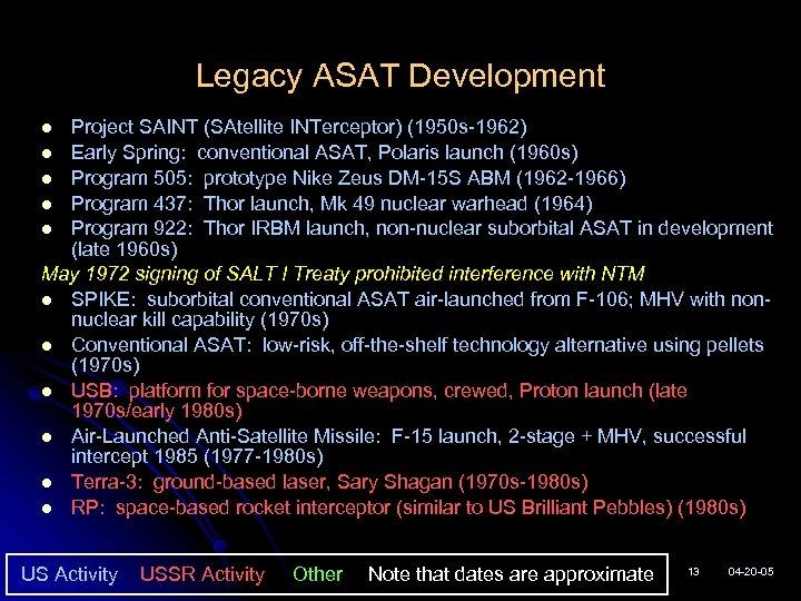 Legacy ASAT Development Project SAINT (SAtellite INTerceptor) (1950 s-1962) l Early Spring: conventional ASAT,