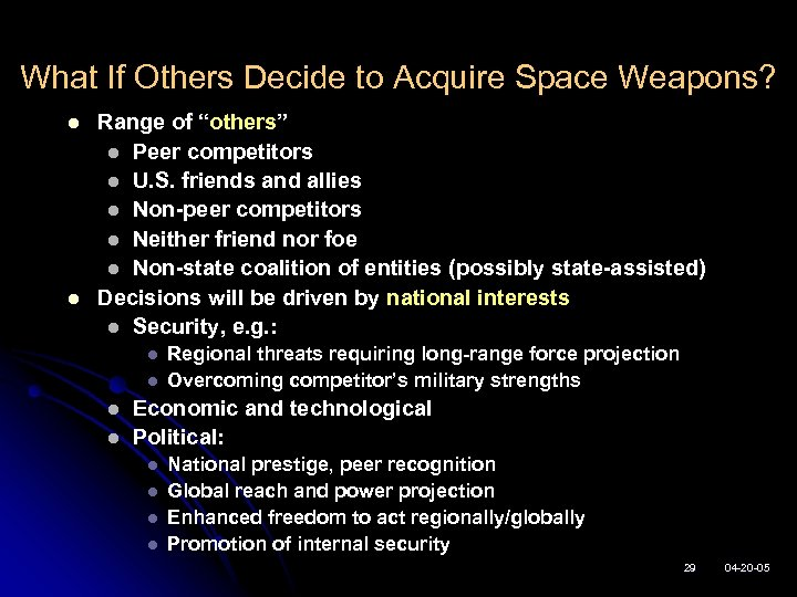 """What If Others Decide to Acquire Space Weapons? l l Range of """"others"""" l"""