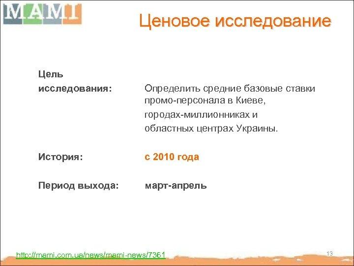 Ценовое исследование Цель исследования: Определить средние базовые ставки промо-персонала в Киеве, городах-миллионниках и областных