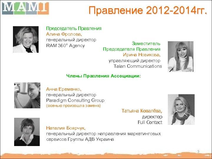 Правление 2012 -2014 гг. Председатель Правления Алина Фролова, генеральный директор RAM 360° Agency Заместитель