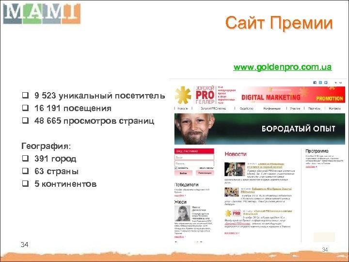 Сайт Премии www. goldenpro. com. ua q 9 523 уникальный посетитель q 16 191