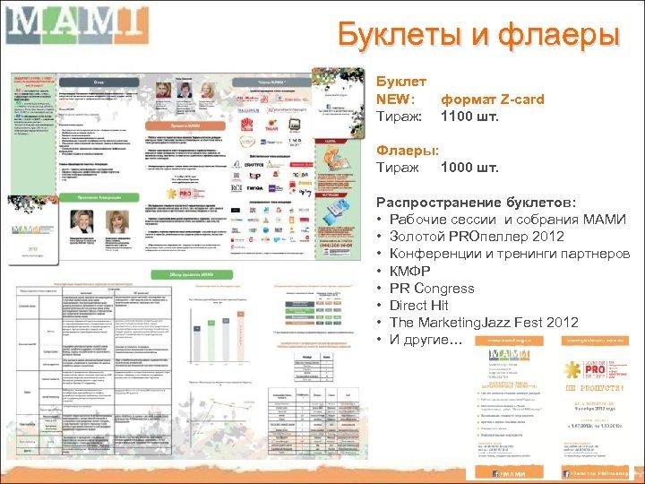 Буклеты и флаеры Буклет NEW: формат Z-card Тираж: 1100 шт. Флаеры: Тираж 1000 шт.