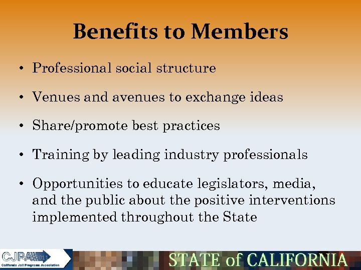 Benefits to Members • Professional social structure • Venues and avenues to exchange ideas
