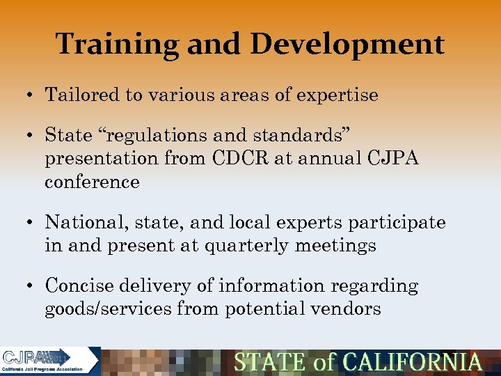 """Training and Development • Tailored to various areas of expertise • State """"regulations and"""