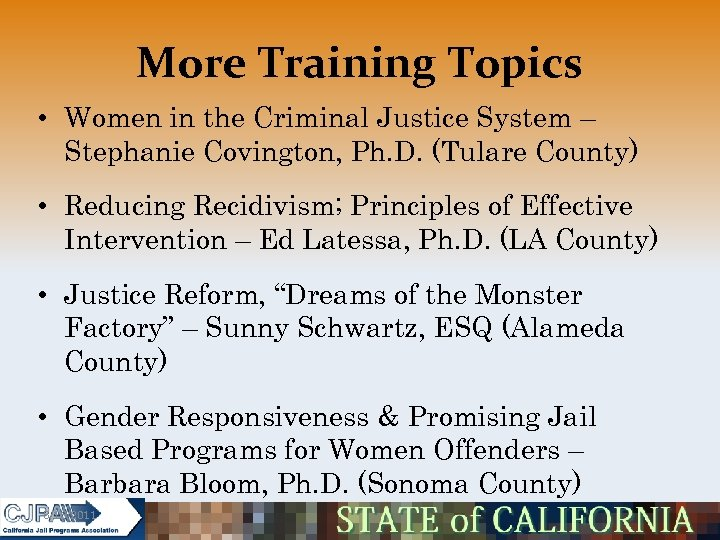 More Training Topics • Women in the Criminal Justice System – Stephanie Covington, Ph.