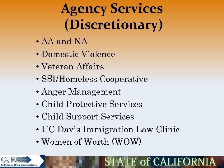 Agency Services (Discretionary) • AA and NA • Domestic Violence • Veteran Affairs •