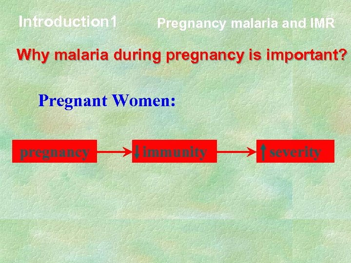 Introduction 1 Pregnancy malaria and IMR Why malaria during pregnancy is important? Pregnant Women: