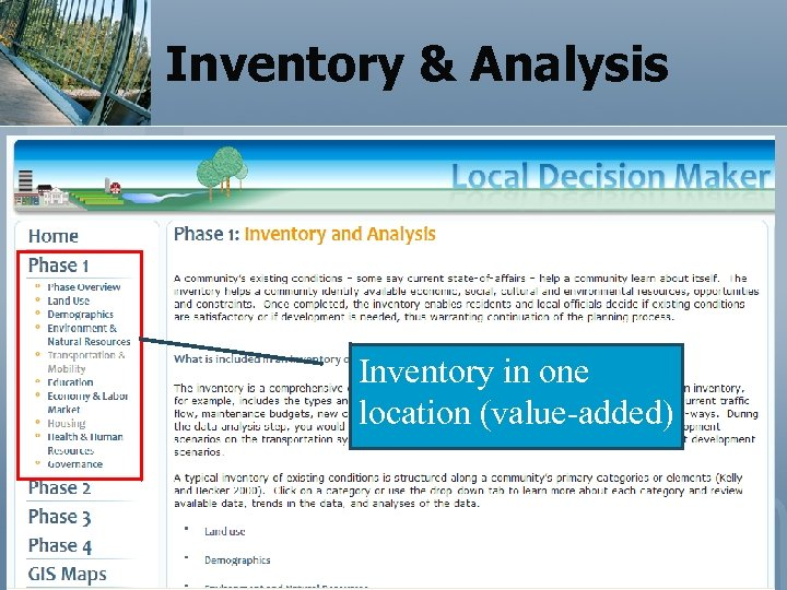 Inventory & Analysis Inventory in one location (value-added)