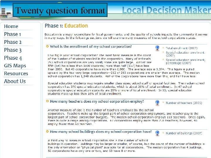 Twenty question format