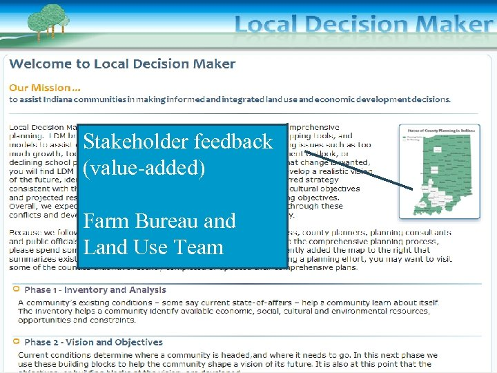 Stakeholder feedback (value-added) Farm Bureau and Land Use Team