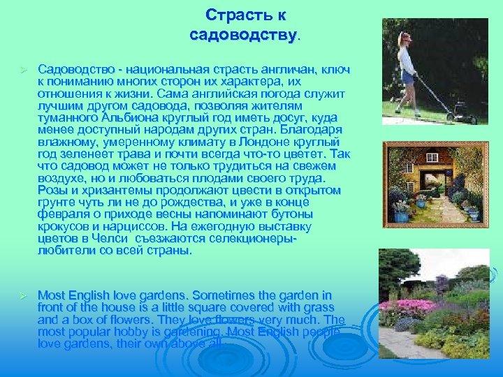 Страсть к садоводству. Ø Садоводство - национальная страсть англичан, ключ к пониманию многих сторон
