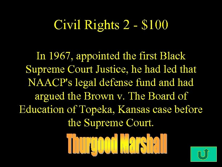 Civil Rights 2 - $100 In 1967, appointed the first Black Supreme Court Justice,