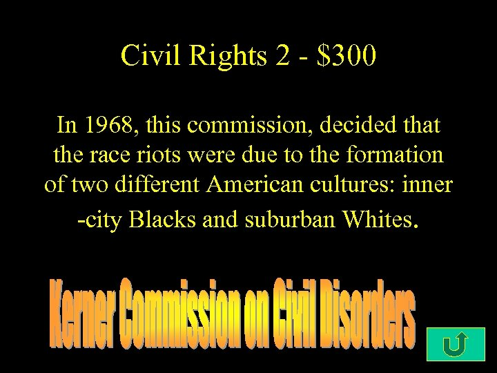 Civil Rights 2 - $300 In 1968, this commission, decided that the race riots