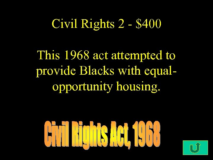Civil Rights 2 - $400 This 1968 act attempted to provide Blacks with equalopportunity