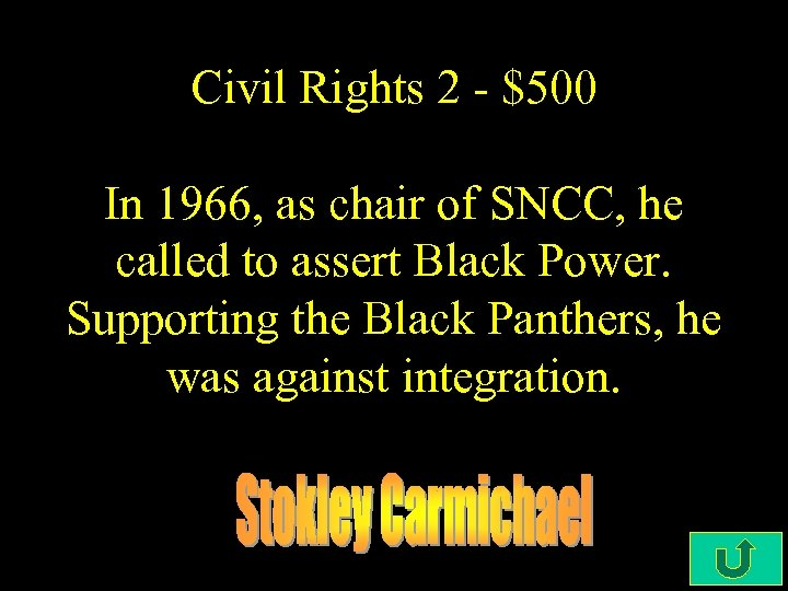 Civil Rights 2 - $500 In 1966, as chair of SNCC, he called to