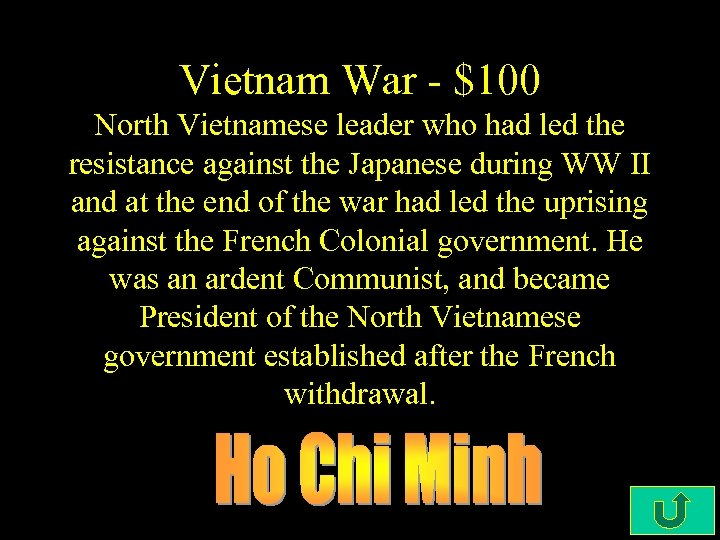 Vietnam War - $100 North Vietnamese leader who had led the resistance against the