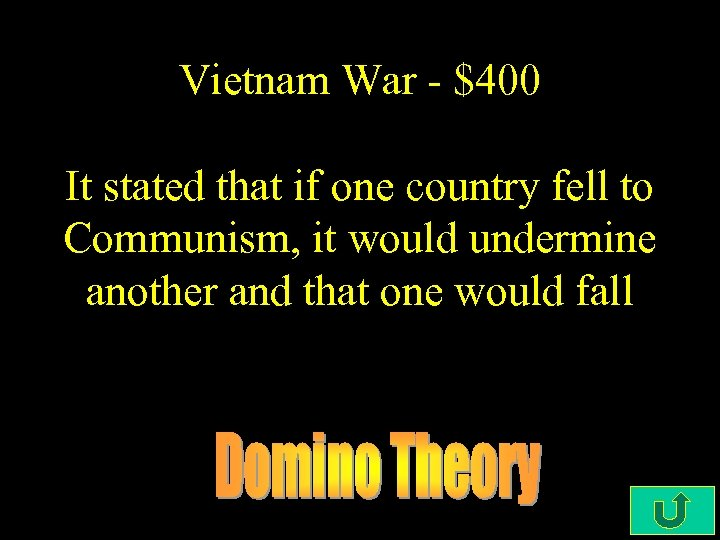 Vietnam War - $400 It stated that if one country fell to Communism, it