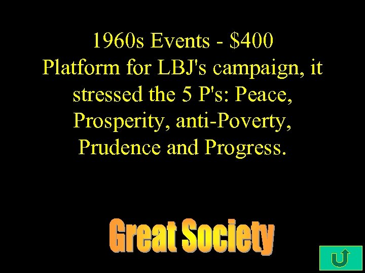 1960 s Events - $400 Platform for LBJ's campaign, it stressed the 5 P's: