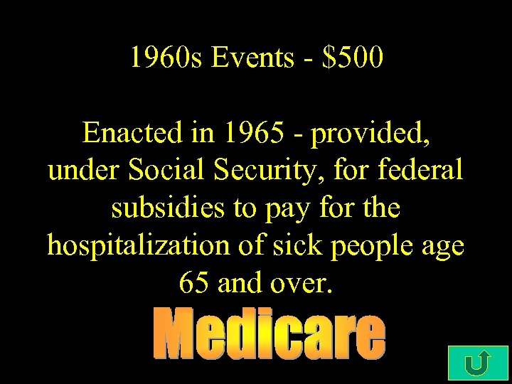 1960 s Events - $500 Enacted in 1965 - provided, under Social Security, for