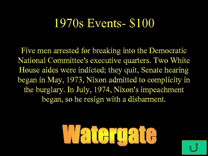 1970 s Events- $100 Five men arrested for breaking into the Democratic National Committee's