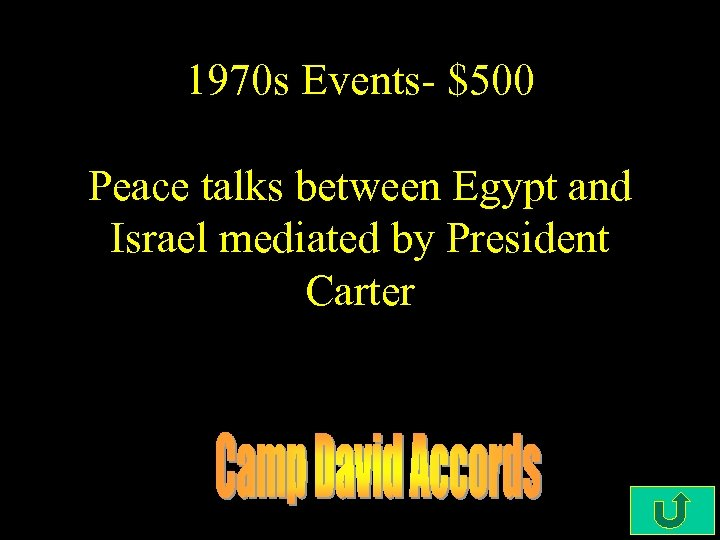 1970 s Events- $500 Peace talks between Egypt and Israel mediated by President Carter