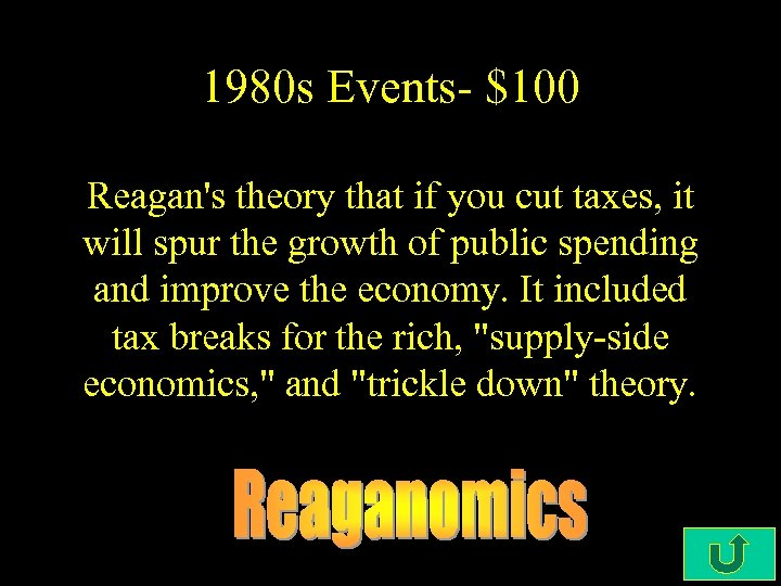 1980 s Events- $100 Reagan's theory that if you cut taxes, it will spur