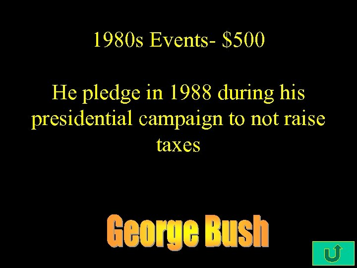 1980 s Events- $500 He pledge in 1988 during his presidential campaign to not