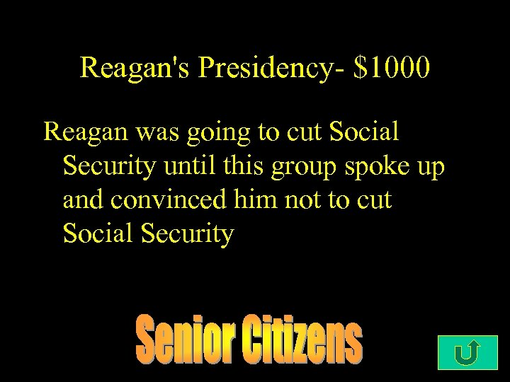 Reagan's Presidency- $1000 Reagan was going to cut Social Security until this group spoke