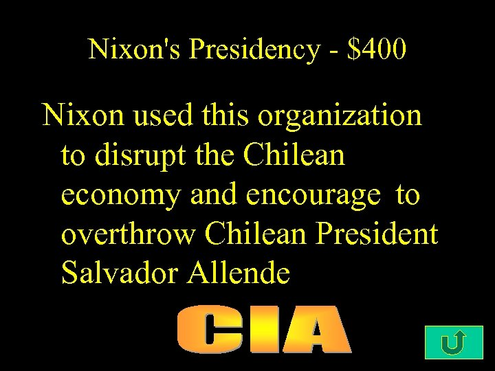 Nixon's Presidency - $400 Nixon used this organization to disrupt the Chilean economy and