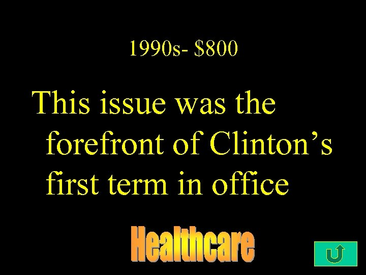 1990 s- $800 This issue was the forefront of Clinton's first term in office