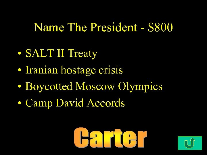 Name The President - $800 • • SALT II Treaty Iranian hostage crisis Boycotted