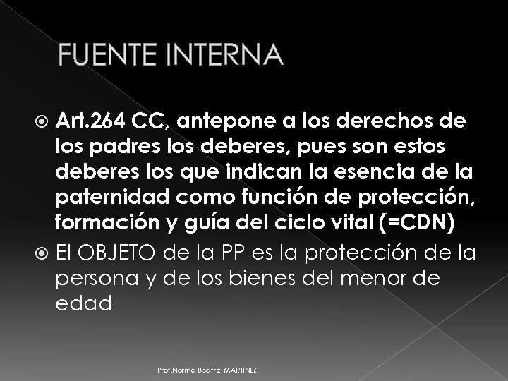 FUENTE INTERNA Art. 264 CC, antepone a los derechos de los padres los deberes,