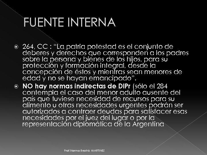 """FUENTE INTERNA 264, CC : """"La patria potestad es el conjunto de deberes y"""