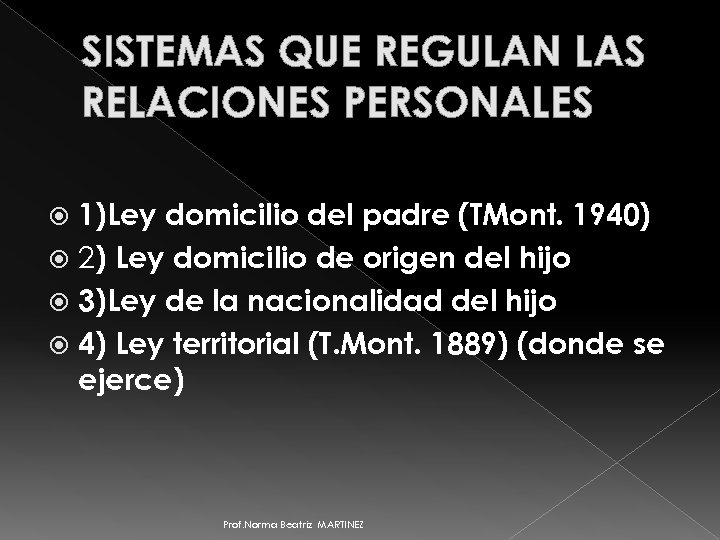 SISTEMAS QUE REGULAN LAS RELACIONES PERSONALES 1)Ley domicilio del padre (TMont. 1940) 2) Ley