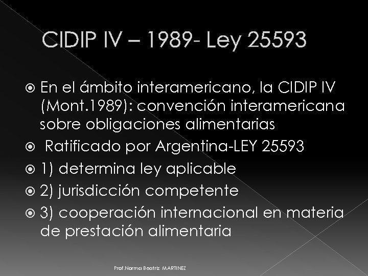 CIDIP IV – 1989 - Ley 25593 En el ámbito interamericano, la CIDIP IV
