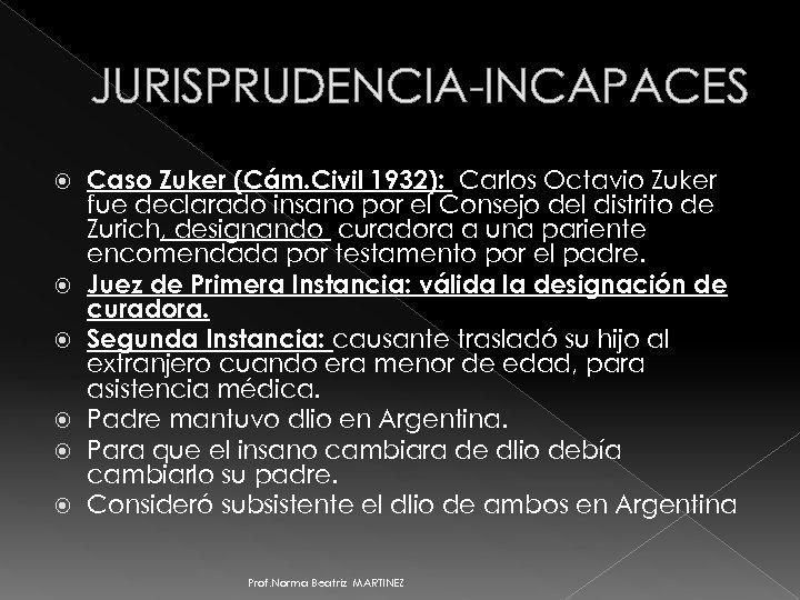 JURISPRUDENCIA-INCAPACES Caso Zuker (Cám. Civil 1932): Carlos Octavio Zuker fue declarado insano por el