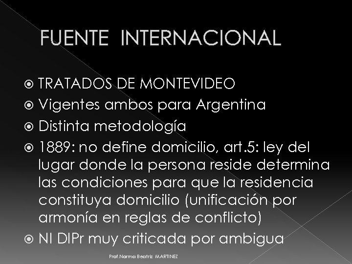 FUENTE INTERNACIONAL TRATADOS DE MONTEVIDEO Vigentes ambos para Argentina Distinta metodología 1889: no define