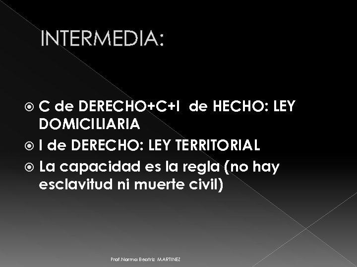 INTERMEDIA: C de DERECHO+C+I de HECHO: LEY DOMICILIARIA I de DERECHO: LEY TERRITORIAL La