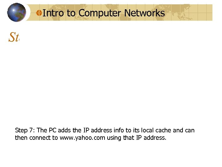 Intro to Computer Networks Step 7: The PC adds the IP address info to